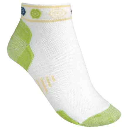 Point6 Running Katie Ultralight Socks - Merino Wool, Ankle (For Men and Women) in White/Lime - Closeouts