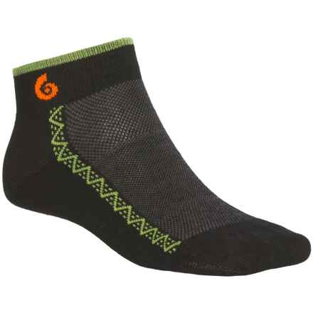Point6 Running Ultralight Socks - Merino Wool, Ankle (For Men and Women) in Black - 2nds
