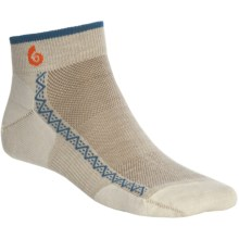Point6 Running Ultralight Socks - Merino Wool, Ankle (For Men and Women) in Natural/Teal - 2nds