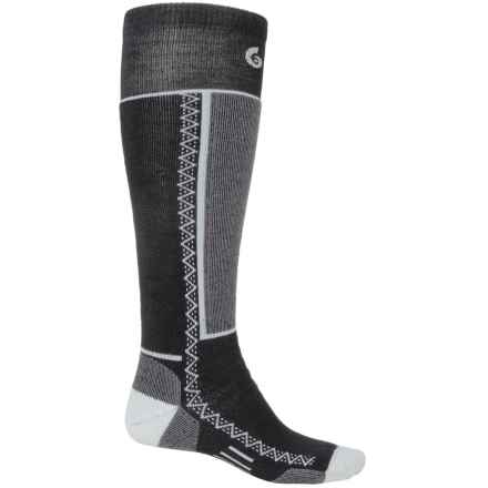 Point6 Shred Ski Socks - Merino Wool, Over the Calf (For Men and Women) in Black - 2nds