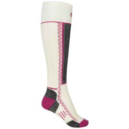 Point6 Shred Ski Socks - Merino Wool, Over the Calf (For Men and Women) in White - 2nds