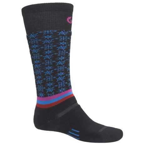 Point6 Ski Free Fall Socks - Wool Blend, Midweight, Over-the-Calf (For Men and Women) in Black/Sky