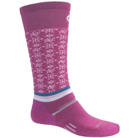 Point6 Ski Free Fall Socks - Wool Blend, Midweight, Over-the-Calf (For Men and Women) in Fuchsia/Pink