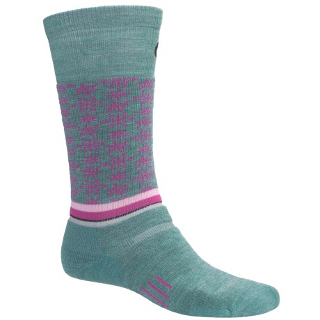 Point6 Ski Free Fall Socks - Wool Blend, Midweight, Over-the-Calf (For Men and Women) in Ocean/Fuchsia