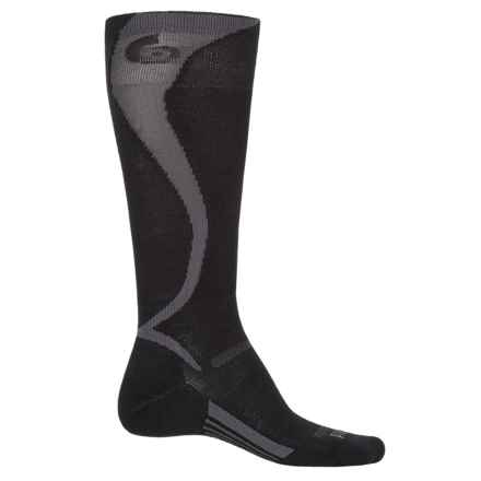 Point6 Ski Light Carve Socks - Merino Wool, Over the Calf (For Men and Women) in Black/Gray - Closeouts