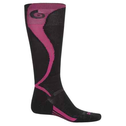 Point6 Ski Light Carve Socks - Merino Wool, Over the Calf (For Men and Women) in Black/Lipstick - Closeouts