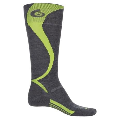 Point6 Ski Light Carve Socks - Merino Wool, Over the Calf (For Men and Women) in Gray/Bright Lime