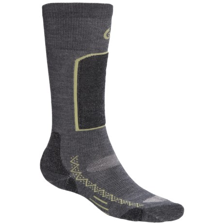 Point6 Ski Light Ski Socks - Merino Wool Blend, Over-the-Calf (For Men and Women) in Grey