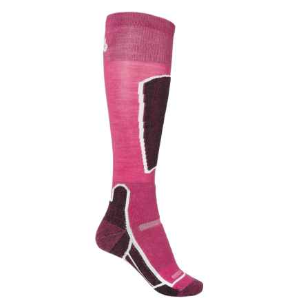 Point6 Ski Medium Socks - Merino Wool, Over the Calf (For Men and Women) in Lipstick - 2nds