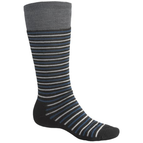 Point6 Ski Medium Stripe Socks - Merino Wool, Over-the-Calf (For Men and Women) in Black/Teal