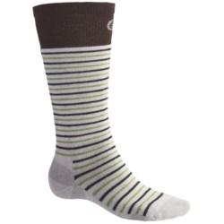Point6 Ski Medium Stripe Socks - Merino Wool, Over-the-Calf (For Men and Women) in Red