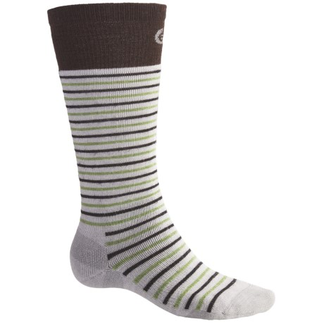 Point6 Ski Medium Stripe Socks - Merino Wool, Over-the-Calf (For Men and Women) in Silver/Chestnut