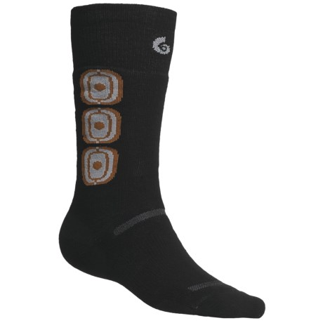 Point6 Ski Medium-Weight Snowball Socks - Merino Wool, Over-the-Calf (For Men and Women) in Black