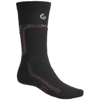 Point6 Ski Midweight Ski Socks - Merino Wool, Over-the-Calf (For Men and Women) in Black