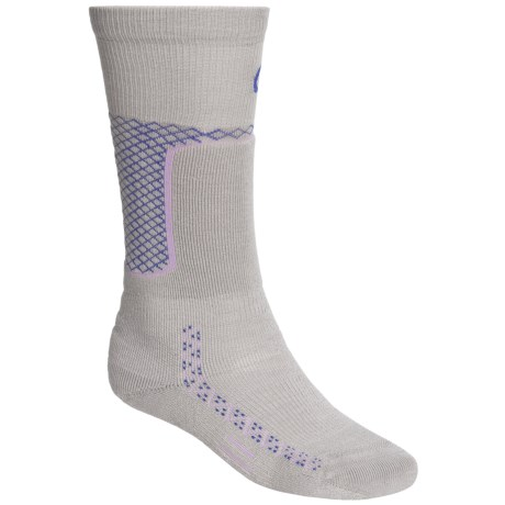 Point6 Ski Midweight Ski Socks - Merino Wool, Over-the-Calf (For Men and Women) in Silver