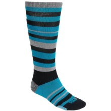 Point6 Ski Park Ski Stripe Socks - Merino Wool, Over-the-Calf (For Men and Women) in Black/Turquoise - 2nds