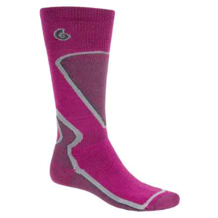 Point6 Ski Park Ski Stripe Socks - Merino Wool, Over the Calf (For Men and Women) in Lipstick - 2nds