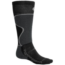 Point6 Ski Pro Lightweight Ski Socks - Merino Wool, Over-the-Calf (For Men and Women) in Black/Grey - 2nds