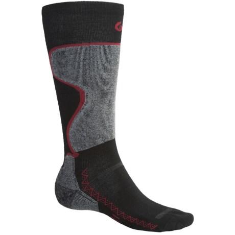 Point6 Ski Pro Lightweight Ski Socks - Merino Wool, Over-the-Calf (For Men and Women) in Black/Silver
