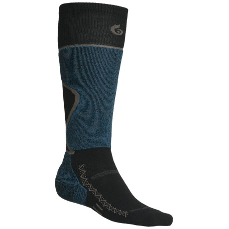 Point6 Ski Pro Lightweight Ski Socks - Merino Wool, Over-The-Calf (For Men and Women) in Black/Teal