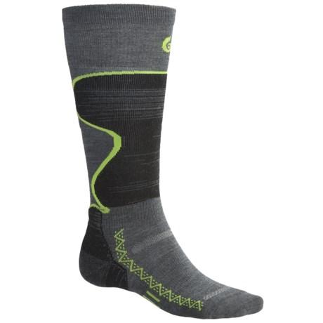 Point6 Ski Pro Lightweight Ski Socks - Merino Wool, Over-the-Calf (For Men and Women) in Grey/Lime