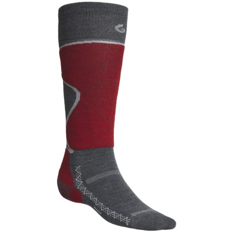 Point6 Ski Pro Lightweight Ski Socks - Merino Wool, Over-The-Calf (For Men and Women) in Grey/Red