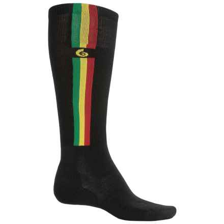 Point6 Ski Pro Parallel Ski Socks - Merino Wool, Over the Calf (For Men and Women) in Black/Red/Yellow/Green - 2nds
