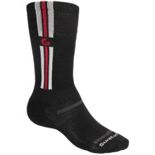 Point6 Ski Pro Parallel Ski Socks - Merino Wool, Over-the-Calf, Lightweight (For Men and Women) in Black/Grey/Red - 2nds