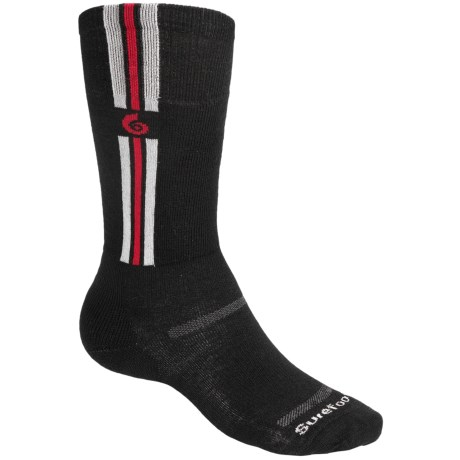 Point6 Ski Pro Parallel Ski Socks - Merino Wool, Over-the-Calf, Lightweight (For Men and Women) in Black/Grey/Red
