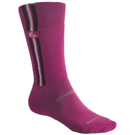 Point6 Ski Pro Parallel Ski Socks - Merino Wool, Over-the-Calf, Lightweight (For Men and Women) in Fuchsia