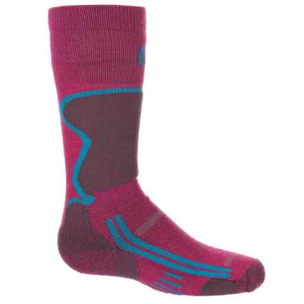 Point6 Ski Socks - Merino Wool, Over the Calf (For Little and Big Kids) in Lipstick - Closeouts