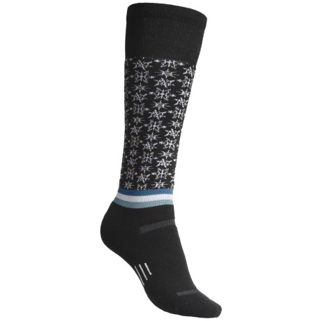 Point6 Ski/Free Fall Medium-Weight Socks- Merino Wool, Over-the-Calf (For Women) in Black/Natural