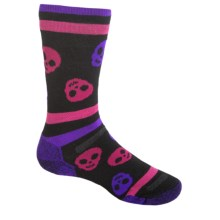 Point6 Skulls Socks - Merino Wool, Crew (For Kids and Youth) in Black - 2nds