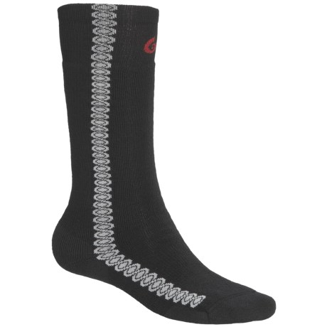 Point6 Snowboard Surf Medium-Weight Socks - Merino Wool, Over-the-Calf (For Men and Women) in Black