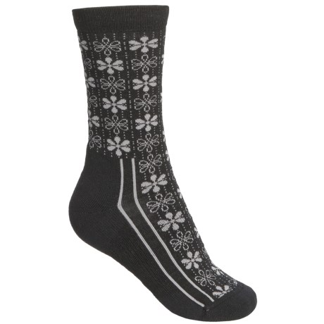 Point6 Snowflake Socks - Merino Wool, Crew (For Women) in Black