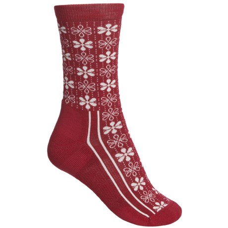 Point6 Snowflake Socks - Merino Wool, Crew (For Women) in Red