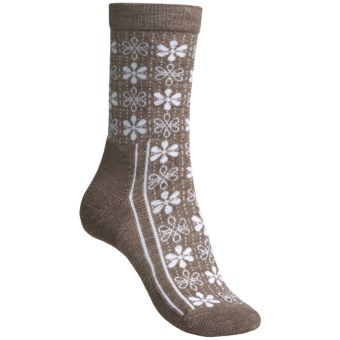 Point6 Snowflake Socks - Merino Wool, Crew (For Women) in Taupe