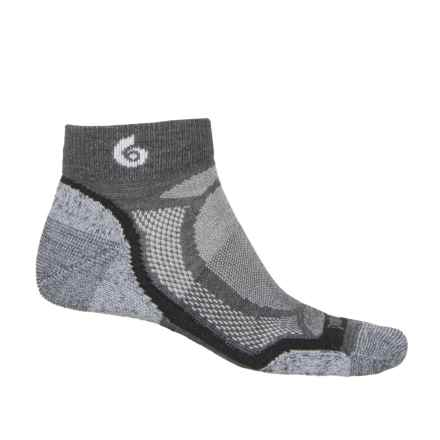 Point6 Sprinter Mini Running Socks - Merino Wool, Below the Ankle (For Men and Women) in Gray - Closeouts
