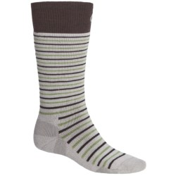 Point6 Stripe Medium-Weight Ski Socks - Merino Wool, Over-the-Calf (For Men and Women) in Silver