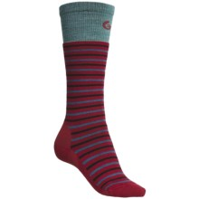 Point6 Stripe Ski Socks - Merino Wool Blend, Over-the-Calf (For Women) in Red - 2nds