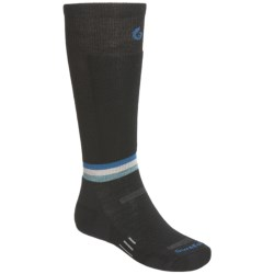 Point6 Surefoot Ski Socks - Merino Wool, Lightweight, Over-the-Calf (For Men and Women) in Black/Ocean/Silver/Teal