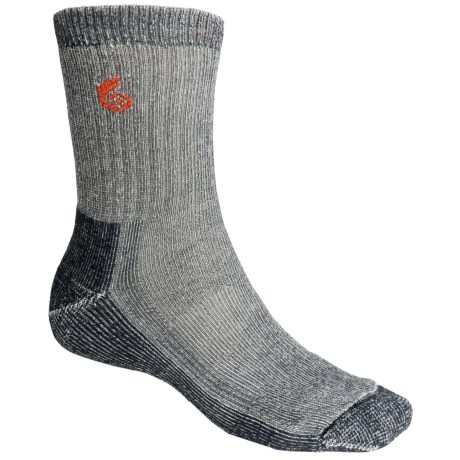 Point6 Trekking Core Socks - Merino Wool Blend, Heavyweight, Crew (For Men and Women) in Grey