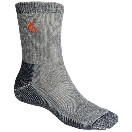 Point6 Trekking Core Socks - Merino Wool Blend, Heavyweight, Crew (For Men and Women) in Grey