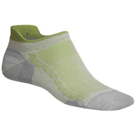 Point6 Ultralight Running Socks - Below the Ankle (For Men and Women) in Silver/Lime - 2nds