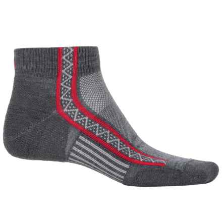 Point6 Ultralight Running Socks - Merino Wool, Ankle (For Men and Women) in Gray/Red - Closeouts
