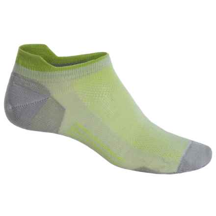 Point6 Ultralight Running Socks - Merino Wool, Below the Ankle (For Men and Women) in Silver/Lime - Closeouts