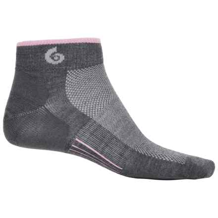 Point6 Ultralight Running Socks - Merino Wool, Quarter Crew (For Men) in Gray/Pink - Closeouts