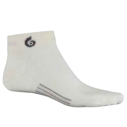 Point6 Ultralight Running Socks - Merino Wool, Quarter Crew (For Men) in Ivory - Closeouts