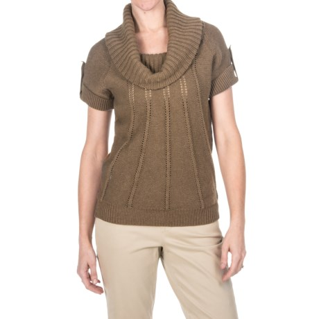 Pointelle Cowl Neck Sweater - Cotton-Merino, Short Sleeve (For Women) in Grey