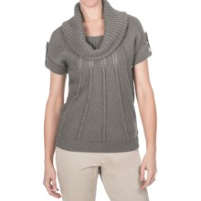 Pointelle Cowl Neck Sweater - Cotton-Merino, Short Sleeve (For Women) in Grey - 2nds